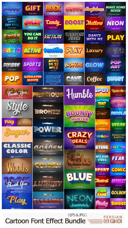 دانلود مجموعه قالب وکتور افکت های متن با طرح های متنوع - Cartoon Font Effect Bundle