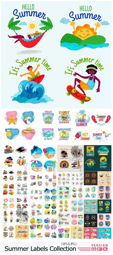 دانلود مجموعه وکتور لیبل های تابستانی متنوع - Summer Labels Collection