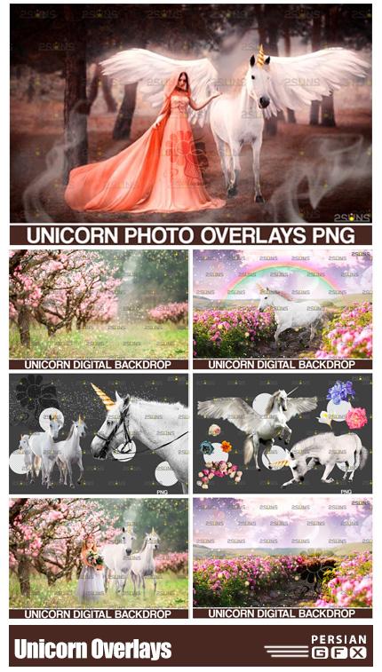 دانلود تصاویر پوششی المان های یونیکورن شامل اسب تک شاخ، گل و بوته، رنگین کمان، ذرات درخشان و ... - Unicorn Overlays