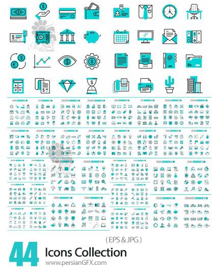 دانلود مجموعه آیکون های خطی با موضوعات مختلف پزشکی، خوراکی، حمل و نقل، مالی و ... - Icons Collection