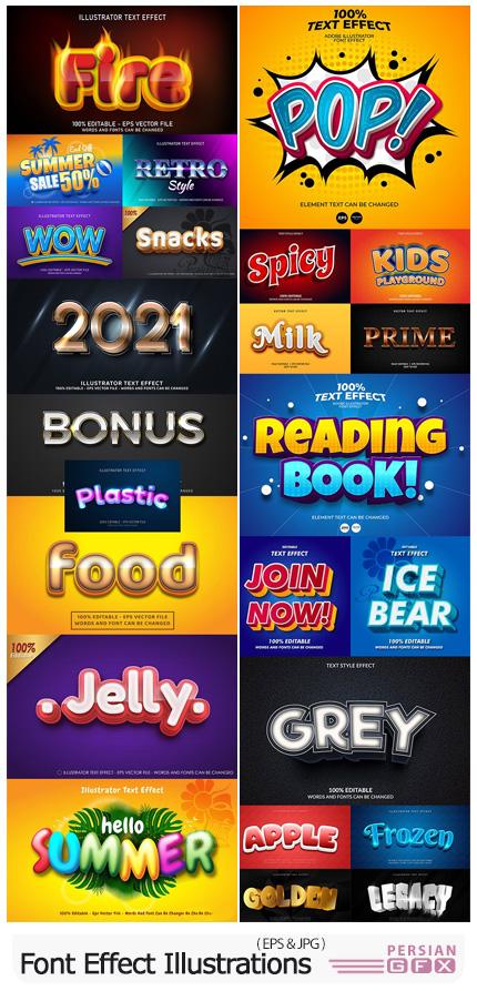 دانلود مجموعه وکتور افکت های متنوع متن - Font Effect Illustrations