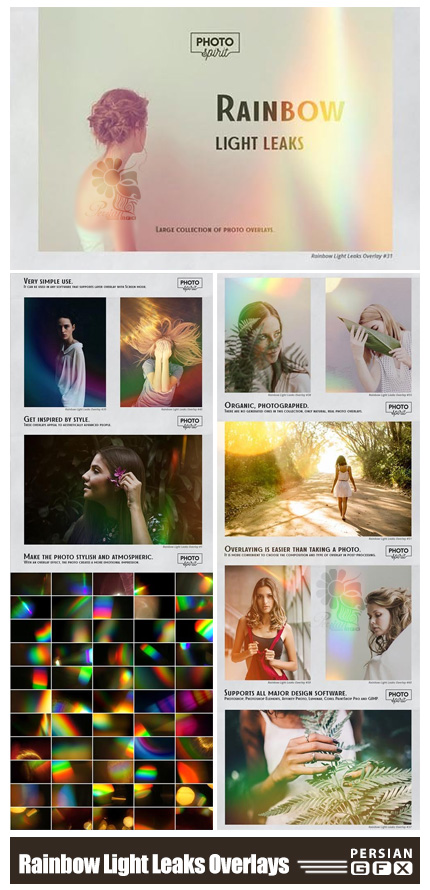 دانلود مجموعه تصاویر پوششی انتشار نور رنگین کمان - Rainbow Light Leaks Overlays