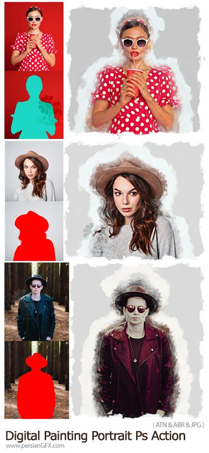 دانلود اکشن فتوشاپ ساخت نقاشی دیجیتالی - Digital Painting Portrait