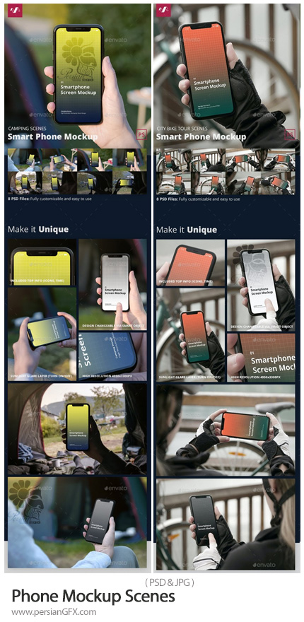 دانلود مجموعه موکاپ گوشی در دست - Phone Mockup Scenes