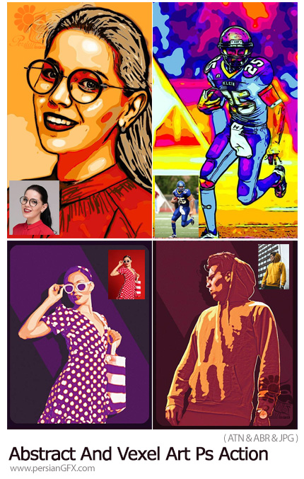 دانلود 2 اکشن فتوشاپ ساخت تصاویر وکتور وکسل هنری - Abstract And Vexel Art Photoshop Action