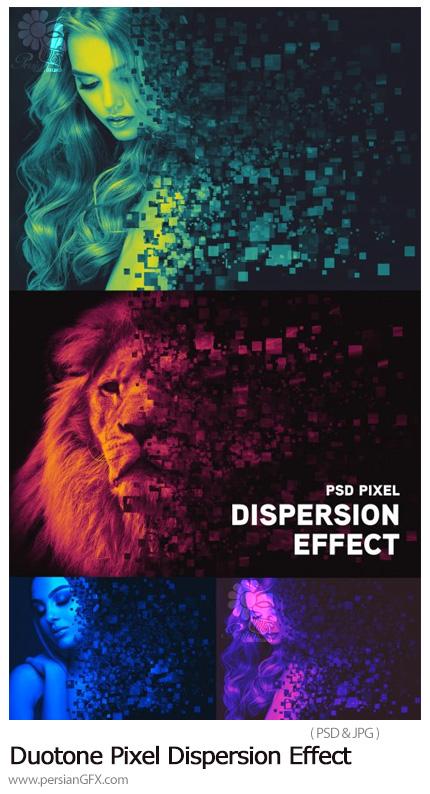 دانلود افکت لایه باز دورنگی با پراکندگی پیکسلی برای تصاویر - Duotone Pixel Dispersion Effect Mockup