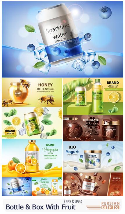 دانلود وکتور بطری و بسته بندی تبلیغاتی با میوه و طعم های مختلف - Bottle And Box With Fruit Advertising
