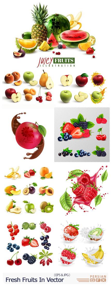 دانلود وکتور میوه های تازه برای طراحی پوستر تبلیغاتی - Fresh Fruits And Berries In Vector