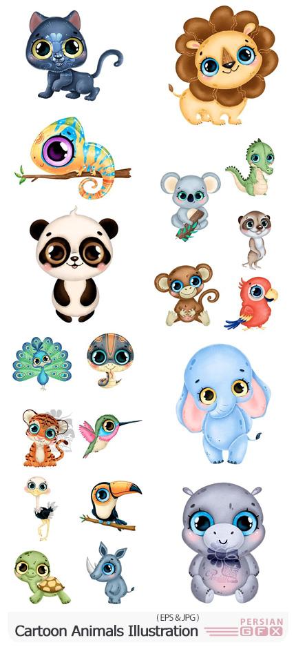 دانلود وکتور حیوانات کارتونی کودکانه و بامزه - Cartoon Animals Illustration