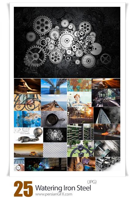 دانلود 25 عکس وسایل فلزی یا آهنی شامل نرده، اتو، ریل و ... - Iron Metal Tin Watering Iron Steel