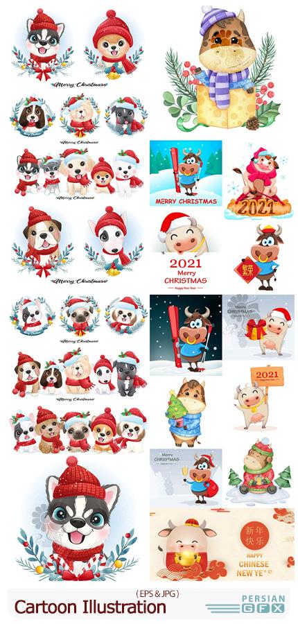 دانلود طرح های کارتونی حیوان سال ۱۴۰۰ و کریسمس - Christmas With Cartoon Illustration