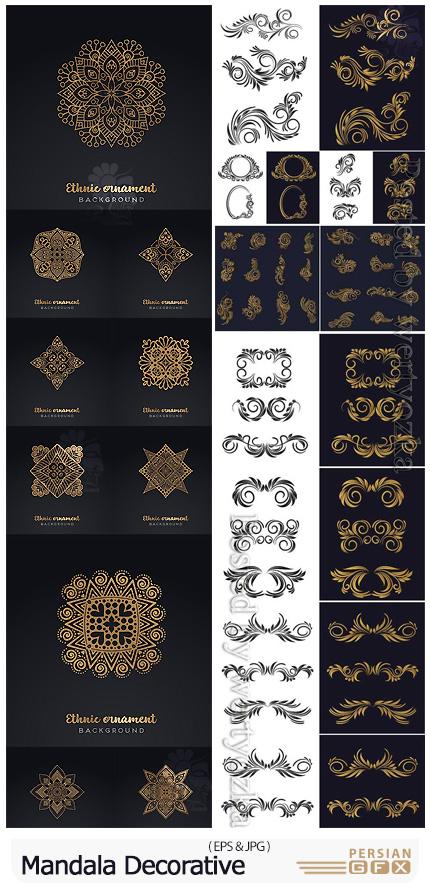 دانلود وکتور عناصر تزئینی گلدار و ماندالا برای طراحی - Mandala Decorative Background
