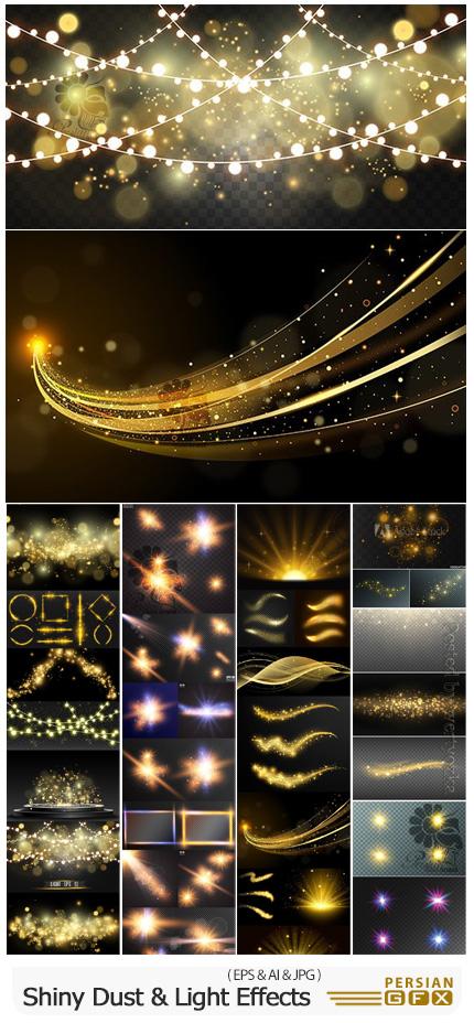 دانلود مجموعه وکتور المان های نورانی، ذرات درخشان و افکت های نورانی - Shiny Dust, Sparkling And Light Effects