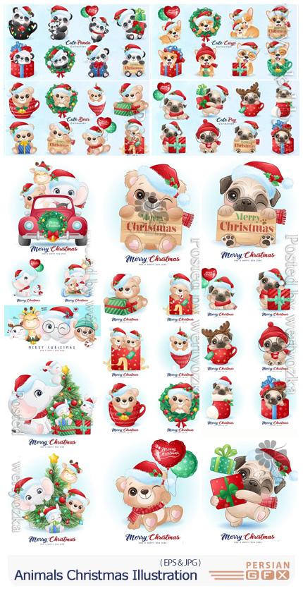 دانلود مجموعه وکتور طرح های کارتونی حیوانات برای کریسمس - Animals Christmas Watercolor Illustration