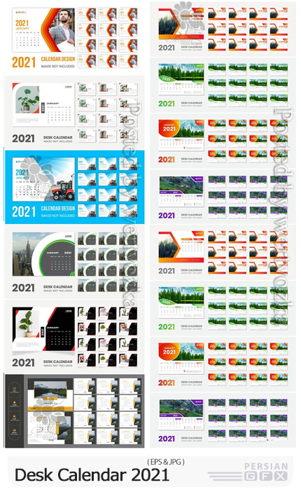 دانلود مجموعه قالب های وکتور تقویم رومیزی سال 2021 - Desk Calendar New Year