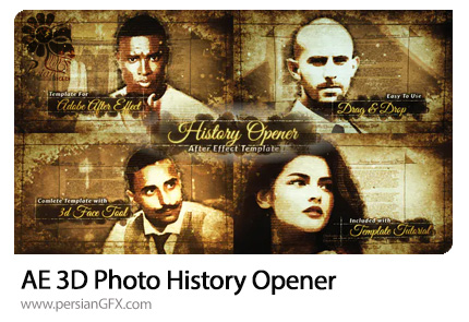 دانلود پروژه افترافکت اوپنر سه بعدی تاریخی به همراه آموزش ویدئویی - 3D Photo History Opener