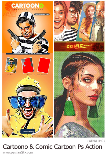 دانلود 2 اکشن فتوشاپ تبدیل تصاویر به نقاشی کمیک و کارتونی - Cartoono And Comic Cartoon Photoshop Action