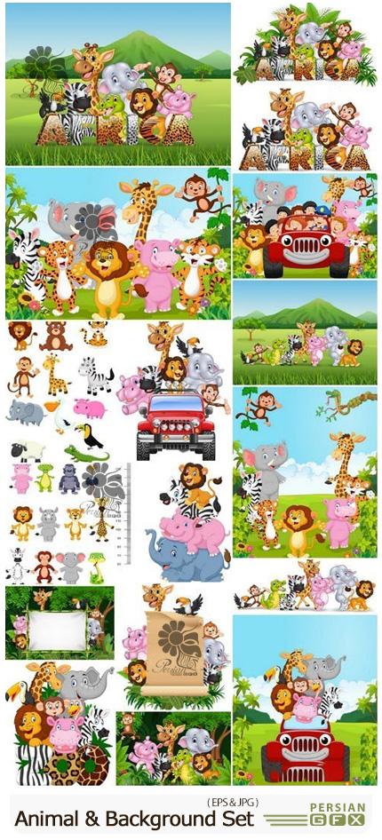 دانلود وکتور بک گراند های کارتونی حیوانات - Animal & Background Cartoon Set
