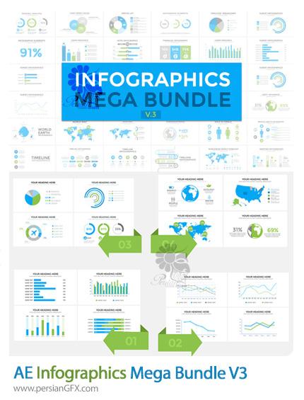دانلود پروژه افترافکت مجموعه نمودارهای اینفوگرافیکی به همراه آموزش ویدئویی - Infographics Mega Bundle V3
