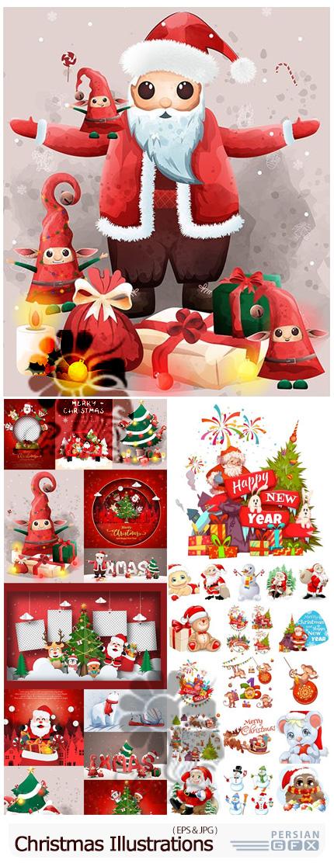 دانلود وکتور المان های کارتونی کریسمس شامل بابانوئل، آدم برفی، درخت کریسمس، هدیه و ... برای طراحی کارت پستال - Christmas Illustrations
