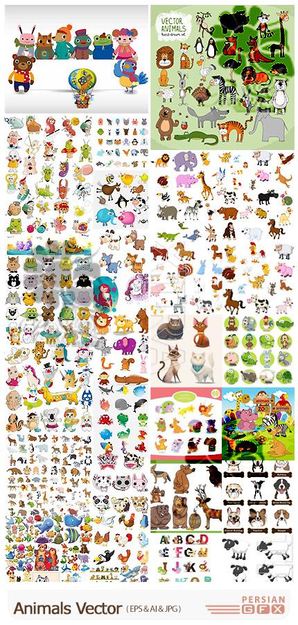 دانلود وکتور حیوانات کارتونی متنوع - Animals Vector