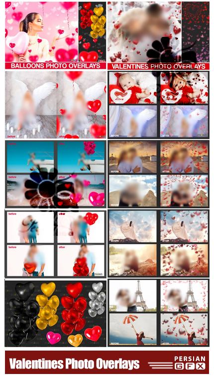 دانلود تصاویر پوششی بادکنک و بوکه های قلب برای ولنتاین - Valentines Photo Overlays