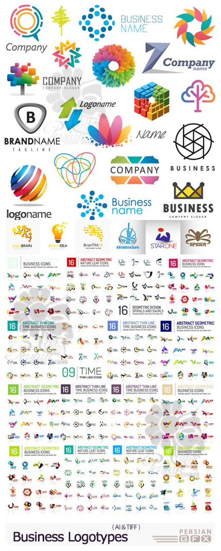 دانلود وکتور لوگوهای تجاری با طرح های انتزاعی - Abstract Business Logotypes