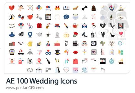 دانلود 100 آیکون متحرک عروسی برای ساخت موشن گرافیک در افترافکت - Wedding Icons