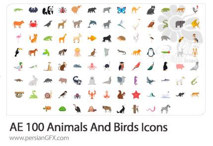 دانلود 100 آیکون متحرک حیوانات و پرندگان برای ساخت موشن گرافیک در افترافکت - Animals And Birds Icons