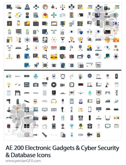 دانلود 200 آیکون متحرک گجت های الکترونیکی، امنیت سایبری و پایگاه داده در افترافکت - After Effect Icons Pack
