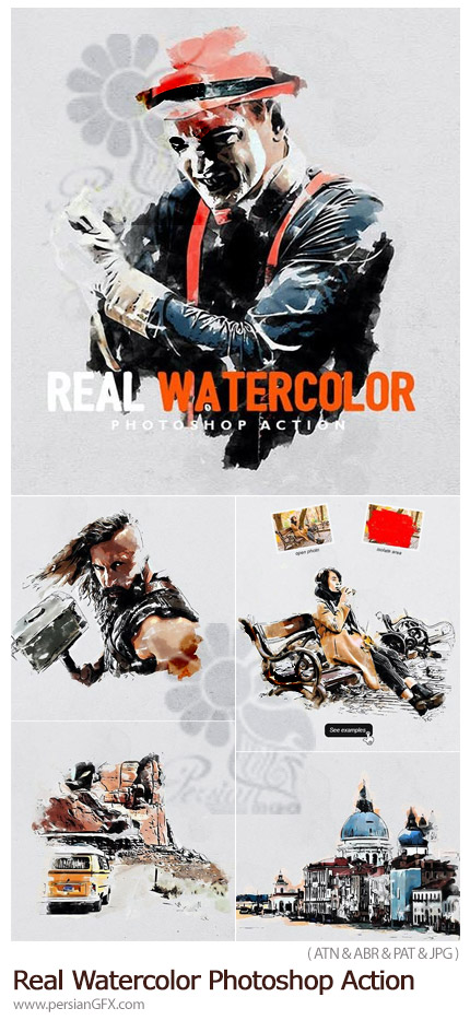 دانلود اکشن فتوشاپ تبدیل تصاویر به طرح آبرنگی واقعی به همراه آموزش ویدئویی - Real Watercolor Photoshop Action