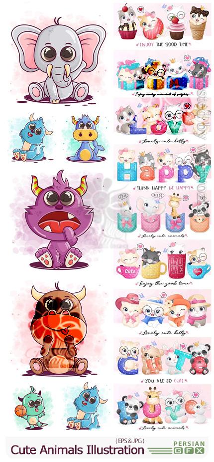 دانلود وکتور حیوانات کارتونی برای کارت پستال و طراحی کودکانه - Cute Animals Vector Illustration