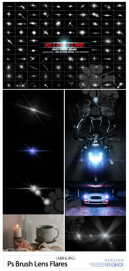 دانلود براش های فتوشاپ لنز فلر، نشتی نور و خطوط نورانی - Photoshop Brush Lens Flares