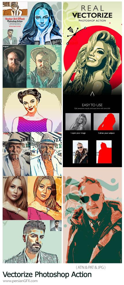 دانلود 2 اکشن فتوشاپ تبدیل تصاویر به وکتور هنری - Vectorize Photoshop Action