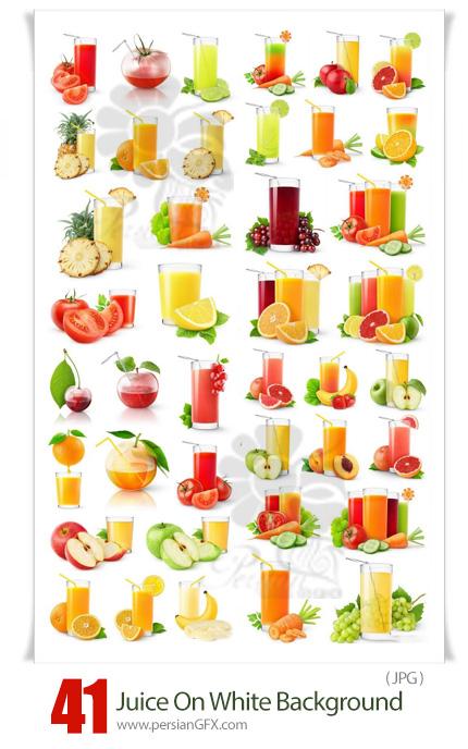 دانلود مجموعه عکس با کیفیت آبمیوه های طبیعی بر روی بک گراند سفید - Fresh Juice On A White Background