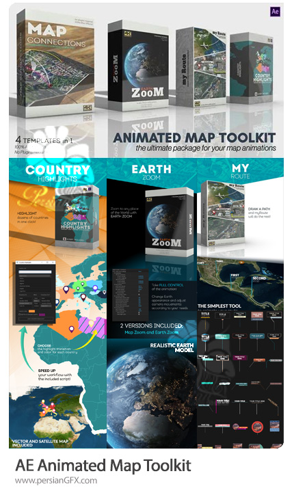 دانلود کیت ساخت نقشه های متحرک با 4 قالب مختلف به همراه آموزش ویدئویی - Animated Map Toolkit