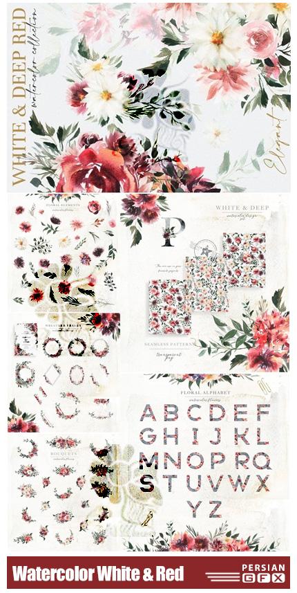 دانلود کلیپ آرت عناصر گلدار آبرنگی سفید و قرمز شامل گل و بوته، فریم، پترن و ... - Watercolor White & Deep Red