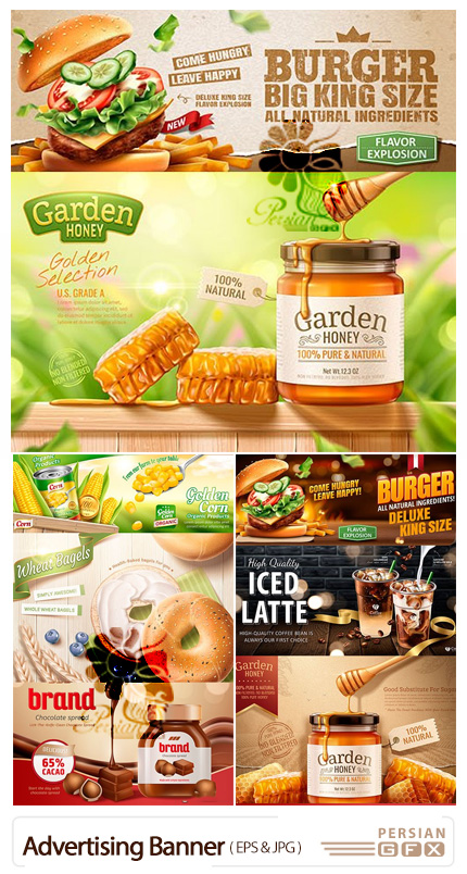 دانلود وکتور بنرهای تبلیغاتی همبرگر، عسل، شکلات و قهوه - Advertising Banner Design