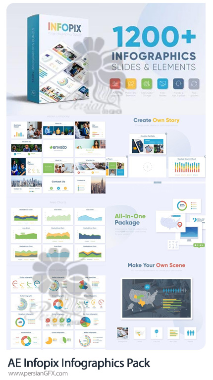 دانلود پک المان های اینفوگرافی برای ساخت موشن گرافیک - Infopix Infographics Pack