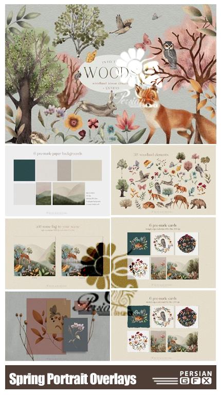 دانلود کلیپ آرت المان های جنگلی حیوانات و گل و گیاه - Woodland Scene Creator Animals Trees