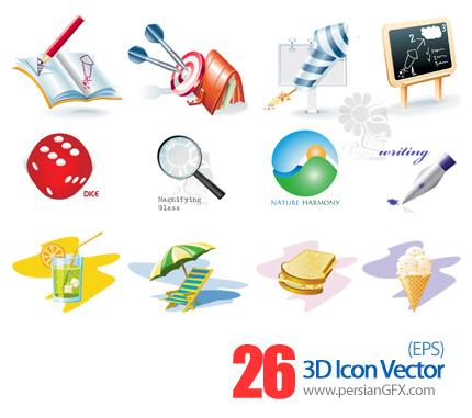 مجموعه آیکون های وکتور - 3D  Icon Vector