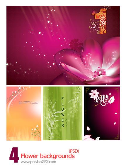 چهار نمونه قالب گل برای پس زمینه - Flower Backgrounds