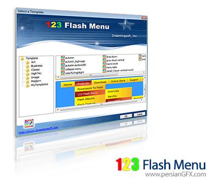 ساخت منوهای فلش حرفه ای با 123 Flash Menu 4.0.4.1385