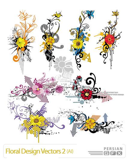 مجموعه تصاویر وکتور با طراحی گل شماره دو - Floral Design Vector 02