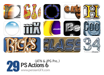 مجموعه اکشن های جالب تغییر حالات نوشته ها  - PS Actions 06