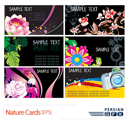 مجموعه کارت ویزیت های طبیعت، گلدار - Nature Cards