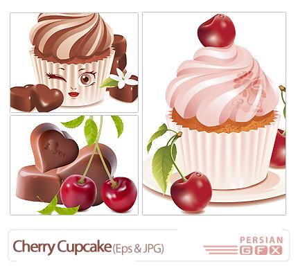 وکتور بستنی - Cherry Cupcake