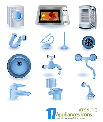 دانلود آیکون های وکتور لوازم بهداشتی و آشپزخانه -  Appliances Icons