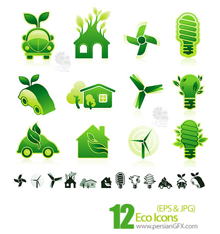 PersianGFX - محیط زیستدانلود آیکون های محیط زیست، سبز رنگ - Eco Icons