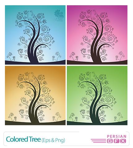 دانلود وکتور درخت، بک گراند رنگین - Colored Tree